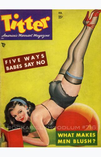 Pin Up Girl Poster 11x17 Titter magazine cover art  February Brunette stockings