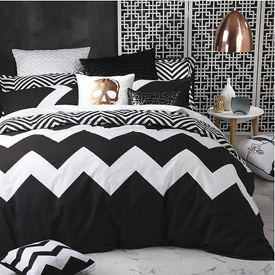 Logan and Mason MARLEY BLACK Chevron Single Bed Size Doona Duvet Quilt Cover Set