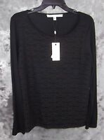 Studio M Lace Front Top Small Black Long Sleeve Stretch