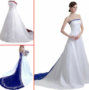 Gothic Ball White embroidered Gown Wedding Dresses Plus Size Formal ...