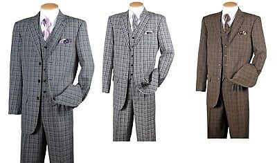 New Men/'s Fashion Suit 3 Button Pleated Front  Check Design  5802V6