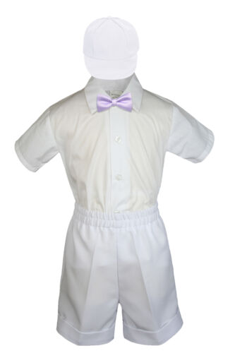 4pc Garçons Toddler Formal Bébé Blanc Short Set avec couleurs nœud papillon chapeau S-4T