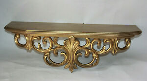 Vtg-Lg-Gold-Syroco-Wall-Shelf-Home-Interior-Ornate-Hollywood-Regency-Decor-0600