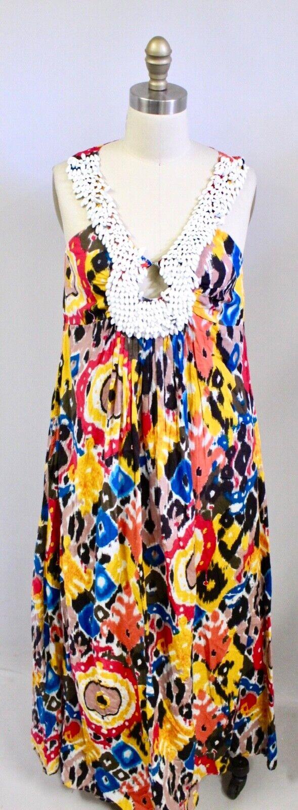 KAS New York Woherren S Heavy Beaded Neck Brightly ColGoldt Boho Long Dress NWOT