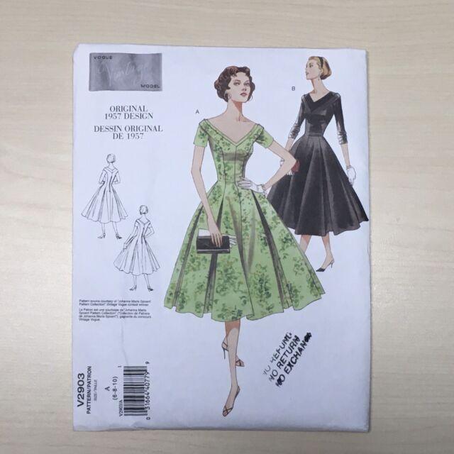 Vintage Vogue V2903 1950s Retro Pin Up Dress Sewing Pattern