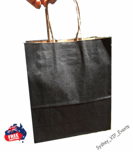 SMALL BULK 1 to 100 KRAFT BLACK PAPER GIFT CARRY SHOPPING BAGS twisted Handles