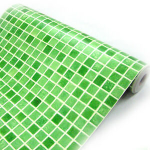 Image Is Loading Green Mosaic Tile Effect Self Adhesive Wallpaper Vinyl