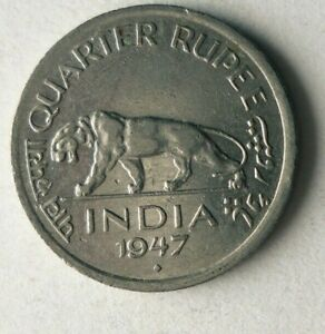 1947 INDIA 1/4 RUPEE - High Quality - AU Excellent Vintage Coin - Lot #A21