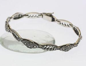 Armband-in-aus-925er-Sterlingsilber-mit-Markasiten-Silber-Armreif-Silberarmband
