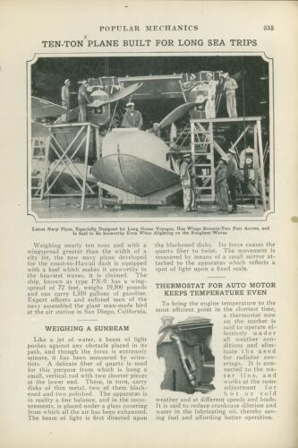 1925 Magazine Article Navy Building PN9 Seaplane, Flying Boat Aviation Hawaii