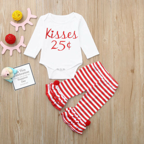 Newborn Baby Girl Letter Romper Tops+Striped Ruffles Pants Casual Kid Outfit Set