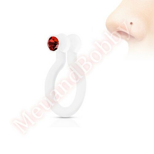 CZ Clip On Fake Nose Ring  Non Piercing Body Jewellery