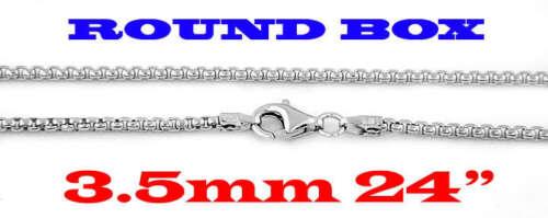 "SILVER 925 ITALIAN ROUND BOX CHAIN NECKLACE 3.5mm 24/"""