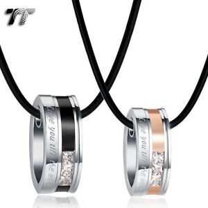 TT-Black-Rose-Gold-S-Steel-Oval-Love-Pendant-Necklace-For-Couple-Engravable