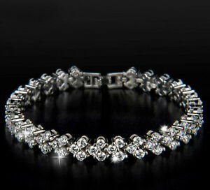 18K-REAL-WHITE-GOLD-FILLED-MADE-WITH-SWAROVSKI-CRYSTALS-TENNIS-CHAIN-BRACELET-2
