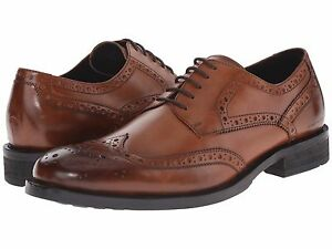 Men-039-s-Shoes-Kenneth-Cole-Gold-Mind-Leather-Wingtip-Oxford-KMF5LE082-Cognac-New