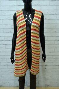 Cardigan-Donna-STEFANEL-Maglia-Lunga-Vintage-Taglia-S-Multicolore-Maglione-Felpa