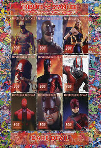 Chad-2018-CTO-Daredevil-Stan-Lee-Superheroes-9v-M-S-Comics-Movies-Stamps