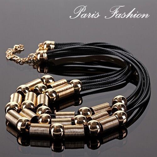 Luxus Kette Statement Paris Halskette Kollier Collier 6 Reihe Baumwoll Metall