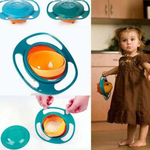 New Magical Baby Kids Non Spill Gyro Toddler Feeding Bowl 360° Reusable uk
