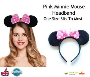RED BOW MOUSE EARS HEADBAND Fancy Dress Band Spotted Bow Ladies Girls Band