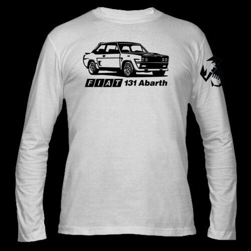 T-SHIRT MANICA LUNGA BIANCA FIAT 131 ABARTH VINTAGE AUTO ITALIANA