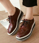Hot Womens Platform Wedges Brogues Comfy Street Lady Oxford Lace UpRetro Shoes