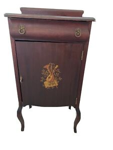 Antique-Painted-Wood-Walnut-Cherry-Sheet-Music-Cabinet-19thC-Louis-XV-Style