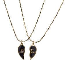 Lux Burnish Gold Best Cousins Mood Detachable Heart Necklace Set ( 2 Pc )