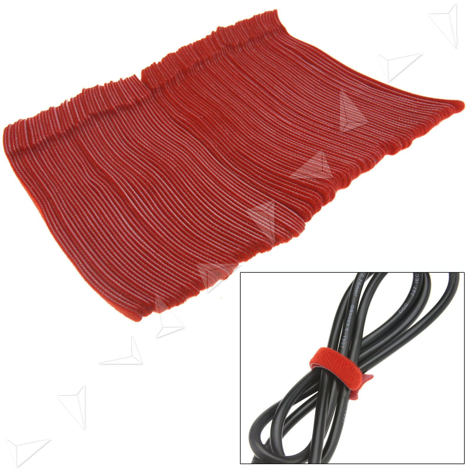 100PCS Reusable Red Adjustable Cable Tidy Strap Ties Tidy Wrap Hook & Loop