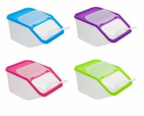 4 X  Food Storage Containers with Scoops 4 Different Colours Air Tight Lids