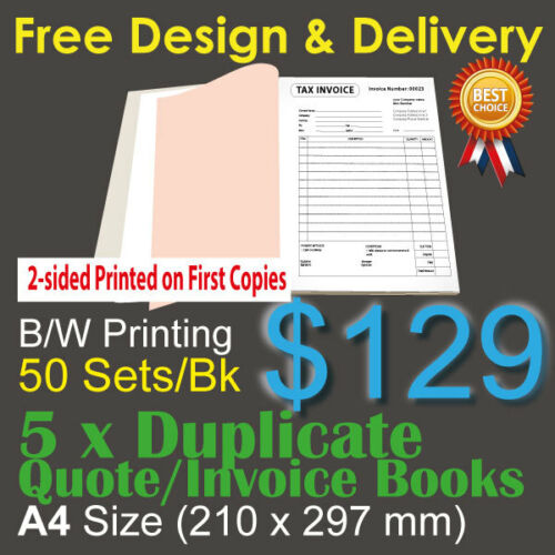 5 x A4 Cusised Printed Duplicate QUOTE Tax INVOICE Books 2sided printing