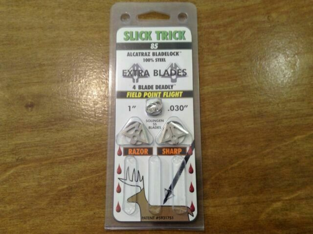 "4 Pack New Slick Trick 85 Grain 1/"" Standard Extra Blades"