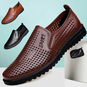 Summer-Business-Men-039-s-Breathable-Hollow-Out-Slip-On-Shoes-Casual-Leather-Shoes