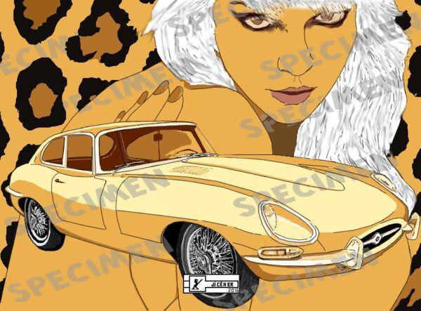 """""""jaguar Type E 1961"""" Dessin (7 Ex Disponibles) Série Dream Car N°3 Par Jiceher"""