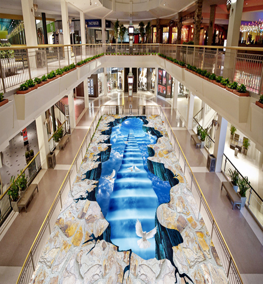 3D Pigeon Ladder 477 Floor WallPaper Murals Wallpaper Mural Print AJ AU Lemon