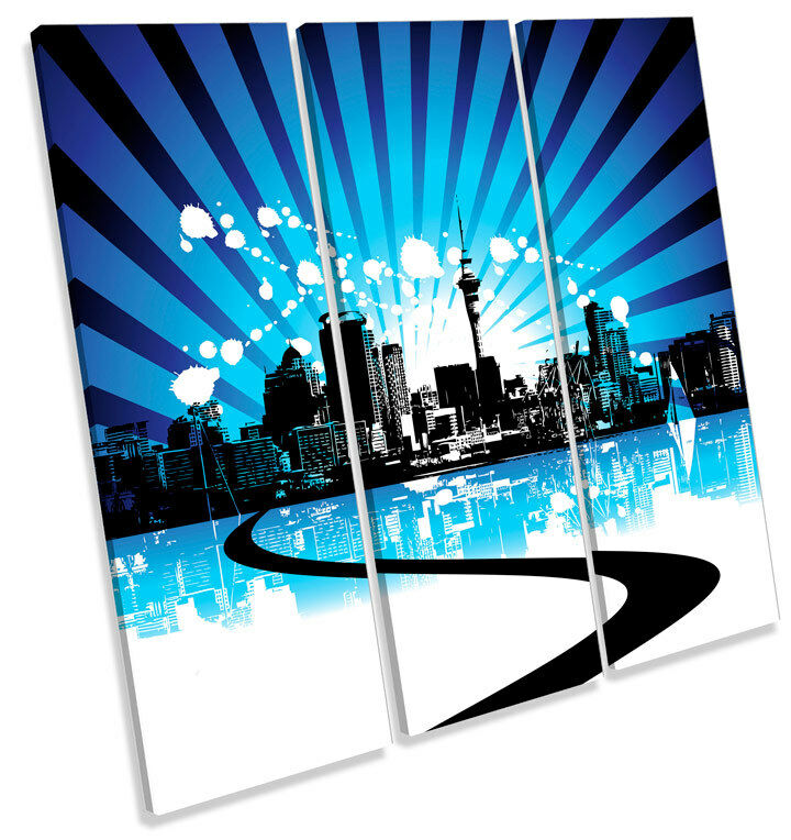 City Skyline Grunge Design TREBLE CANVAS WALL ART Square Picture Print