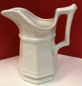 Vintage-Hand-Made-By-B-D-White-Ceramic-Pitcher-Creamer-5-Octagon-Shape