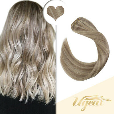 Ugeat 50g Tape in Human Hair Extensions Highlights Ash to Bleach Blonde 18//613#