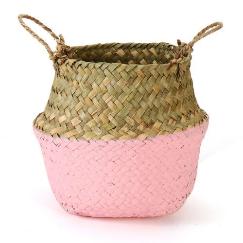 Folding Seagrass Belly Woven Basket Garden Flower Plant Pot Laundry Storage Bag