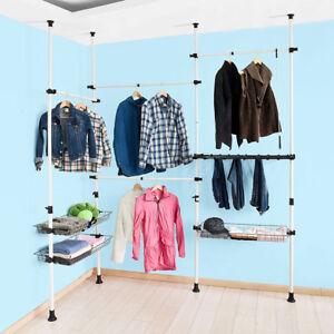 SoBuy-Telescopic-Wardrobe-Organiser-Hanging-Rail-Clothes-Rack-FRG38-UK