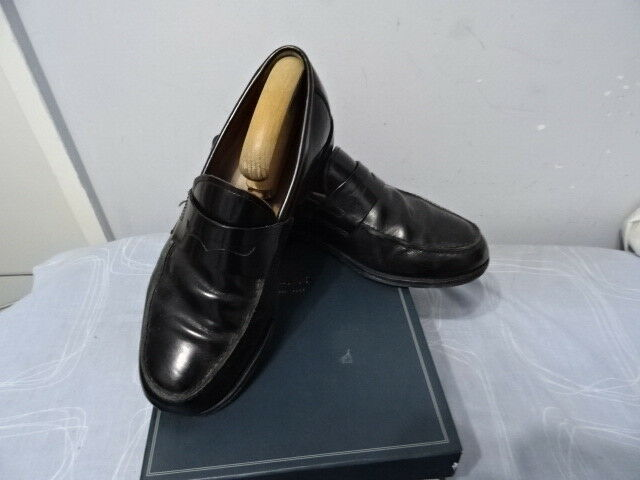 Herren JOHN LEWIS ANDERSON LOAFER BLACK 8 LEATHER SLIP ONS Schuhe SIZE UK 8 BLACK 5cd440