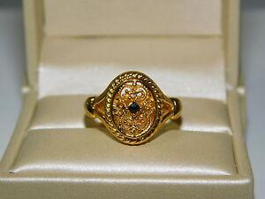 Gold Tone Vintage Signed AVON Floral White Porcelain Ring Size 4 12-5