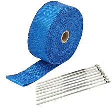 """BLUE EXHAUST PIPE HEAT WRAP 2"""" x 50' MOTORCYCLE HEADER INSULATION"""