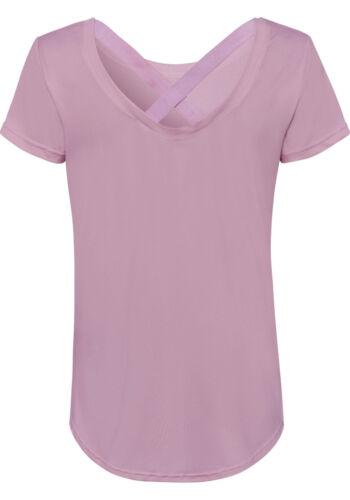 Bändern Sportshirt active by LA T-Shirt mit gekreuzten NEU!!! mauve
