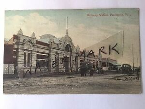 ANTIQUE-VINTAGE-PHOTO-POSTCARD-RAILWAY-STATION-OLD-FREMANTLE-WESTERN-AUSTRALIA