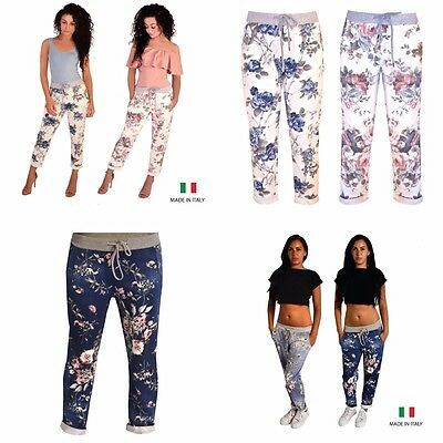 Womens Ladies Trousers Floral stripe Print Elasticated Summer Lounge Casual Pant