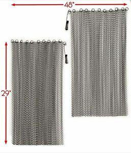 "2 Jestesen Fireplace Black Mesh Replacement Curtain Screen W// Rods 22/"" x 48/"""