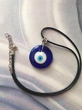 Greek Round Blue Glass Evil Eye Pendants Charm Necklace Choker Necklace