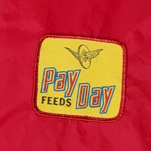Vintage 80s Pay Day Feeds Jacket XL Patch Red Farm